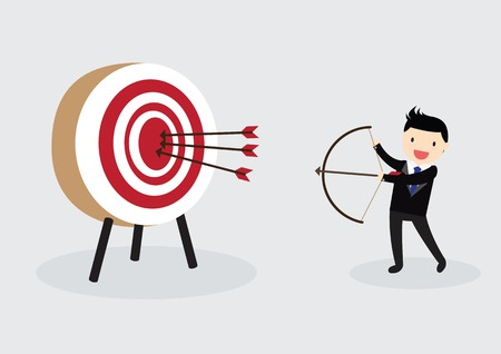 Businessman with bow and arrow is aiming at target