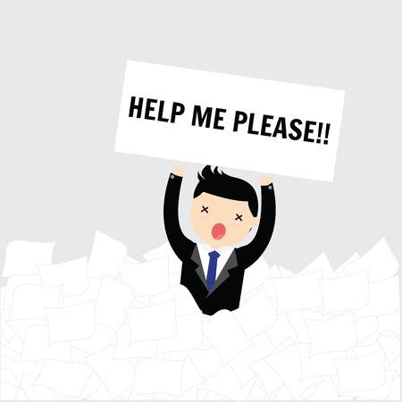 ビジネスマンは、ホワイト ペーパーの多くの下で助けを必要と