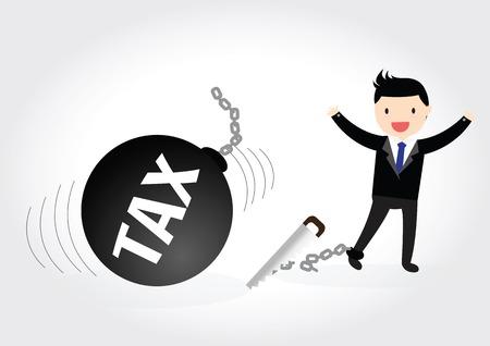 destroy: Businessman success to destroy debt chain by hacksaw Illustration