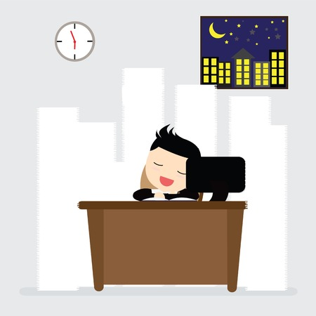 work table: Businessman sleeping at work table a lot of paper work Illustration