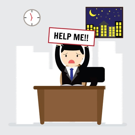 workload: Businessman need help under a lot of white paper