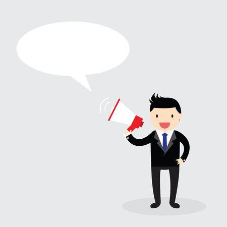 announcing: Businessman announcing through megaphone Illustration