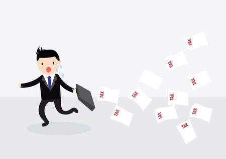 Businessman with briefcase running away from tax Illustration