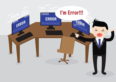 error message: Businessman confused and being in stress temper with error message on computer.