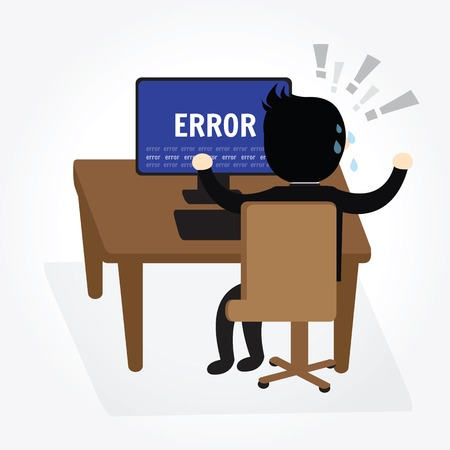 実業家の混乱とストレス気性コンピューターでエラー メッセージの。
