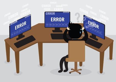 混乱のビジネスマンおよび中気性のコンピューターでエラー メッセージを強調します。