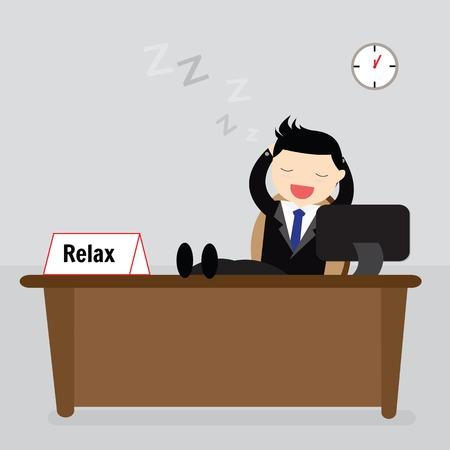 relajado: Hombre de negocios relajado sentado con los pies sobre la mesa y las manos detr�s de la cabeza