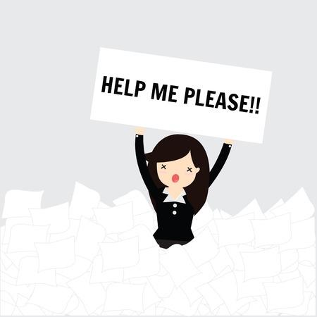 ビジネスの女性多くのホワイト ペーパーの下の助けが必要
