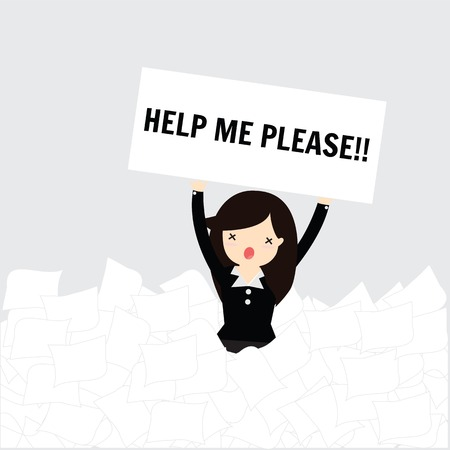 Business woman need help under a lot of white paper