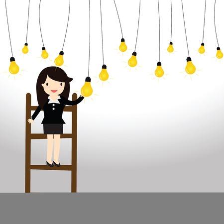 女性実業家: 電球を引くビジネス女性