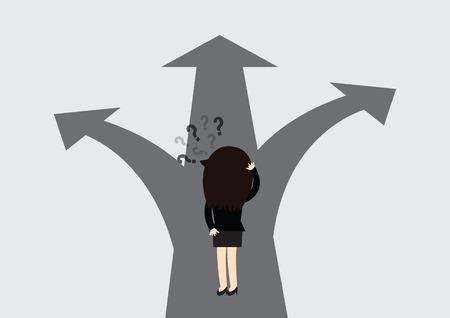 devanear: Mulher de negócio com a escolha alternativa. Onde ir.