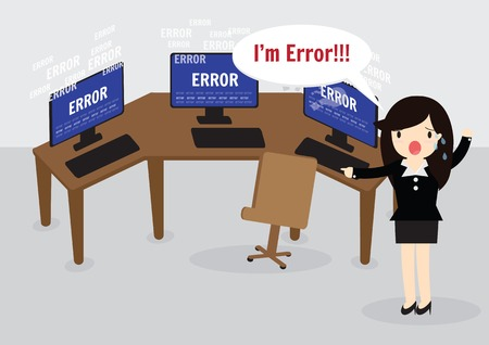 error message: Business woman confused and being in stress temper with error message on computer.