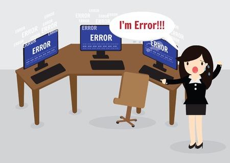 mujer estres: Mujer de negocios confundido y estar en temperamento estr�s con el mensaje de error en el ordenador.
