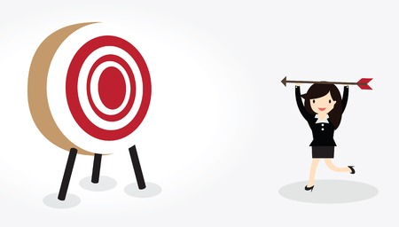 bowman: Business woman with bow and arrow is aiming at target Illustration
