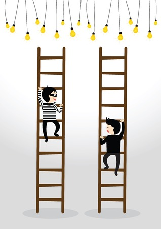 preceded: Businessman climb to ladder catching a light bulb but preceded by a thief Illustration