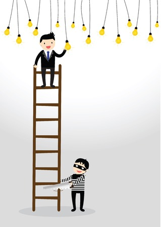steal brain: Businessman climb to ladder catching a light bulb with Robbers sawing ladder