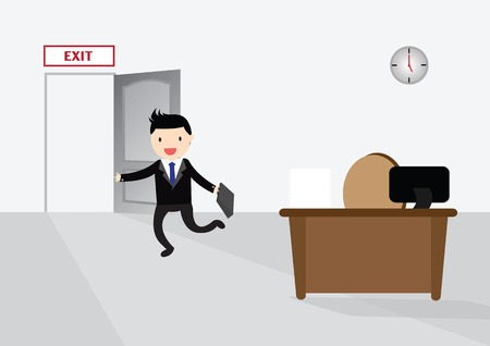 running off: Businessman running exit door sign he get off work at five.
