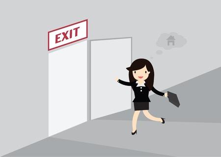 running off: Business woman running exit door sign he get off work at five.