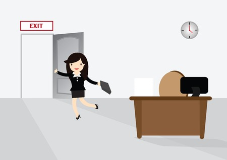 running off: Business woman running exit door sign he get off work at five.