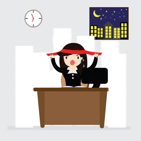 alertness: Business woman alertness hard work sitting on desk in night at office Illustration