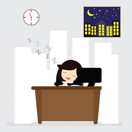 sleepy woman: Business woman sleeping at work table a lot of paper work Illustration