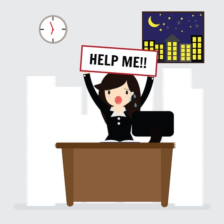 workload: Business woman need help under a lot of white paper