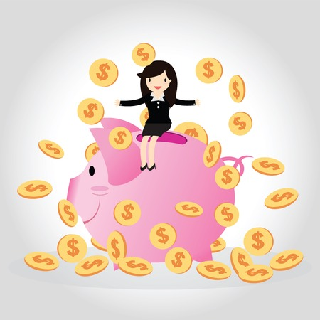 Happy business woman with golden coins on big piggy bank. Çizim