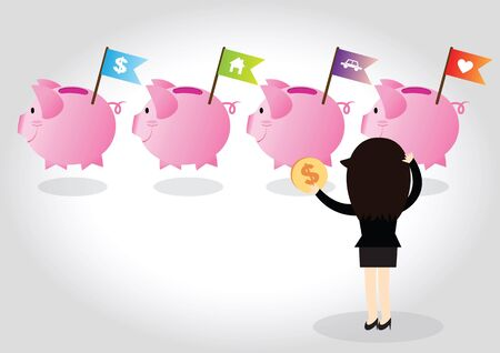investor: Business woman investor making decision put coin into home, car and love in piggy bank