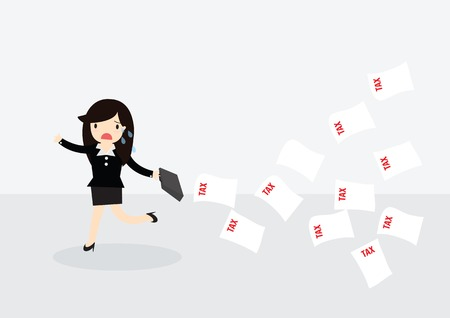 evade: Business woman with briefcase running away from tax