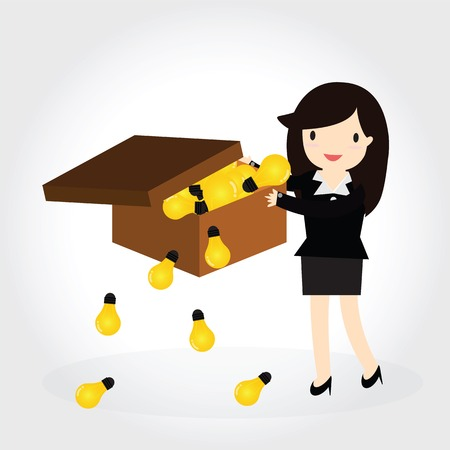 Business woman can get good idea and put idea in a box Vector