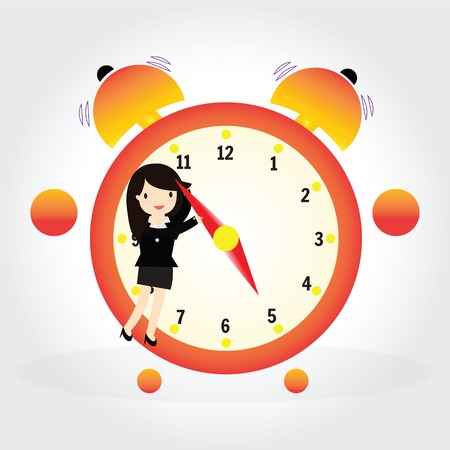 pm: Business woman pulling a clock hand forward at 5 pm o clock