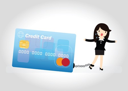woman credit card: Business woman with debt bills and credit card