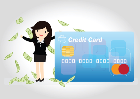 Happy business woman wiht credit card and money