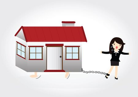 foreclosure: Business woman with debt chained on ankle and a house Illustration