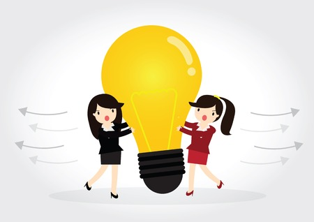 Business woman is plagiarizing idea to work