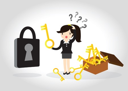 escape key: Business woman are confused to find the key to open the lock.