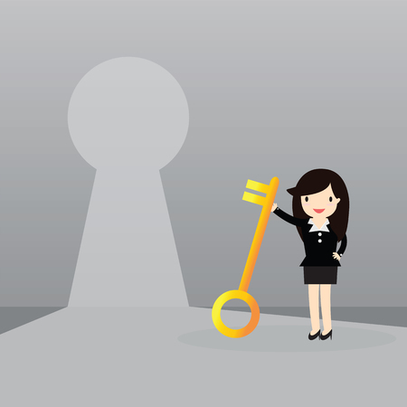 business woman standing: Business woman standing in front of keyhole Illustration
