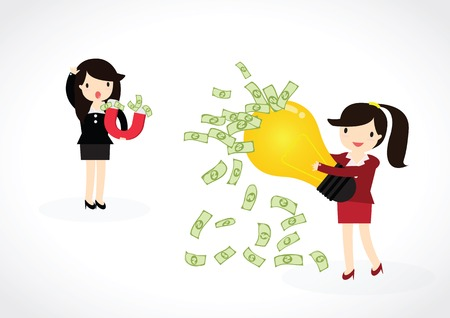 lodestone: Business woman using magnet to attracts money with idea. Magnet for business.