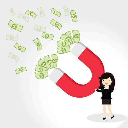 attracts: Business woman using magnet to attracts money. Magnet for business.