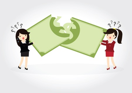 tatter: Business woman fight over for dollar money Illustration