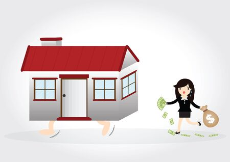 repossession: Business woman with debt and chasing a home