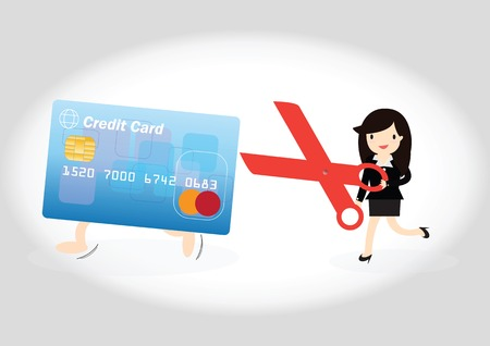 woman credit card: Business woman running credit card as to cutting up credit card with scissors Illustration