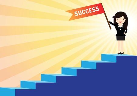 階段を登ってブリーフケースを持つ成功ビジネス女性