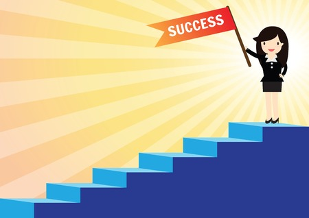 Success business woman with briefcase walking up to stairs Vectores