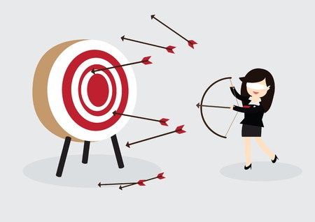 Blindfold business woman try to hit a target Stock Illustratie