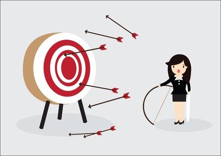 目隠しビジネス女性ターゲットをヒットしようとしています。
