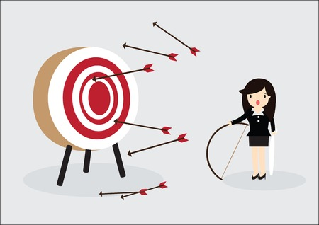 Blindfold business woman try to hit a target Vectores