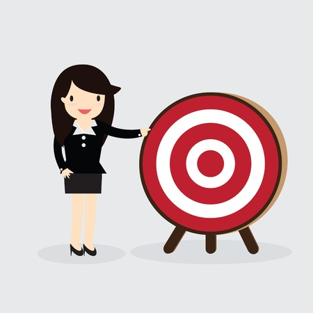 bowman: Business woman with arrow is aiming at target