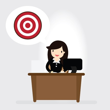 business woman: Business woman man with target Illustration