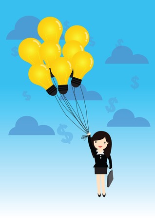 hanging woman: Business woman hanging idea balloon
